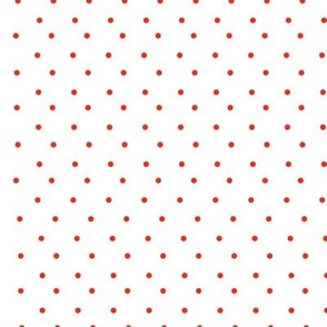 red polka on white