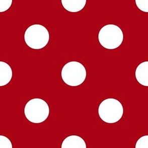 One Inch White Polka Dots on Dark Red
