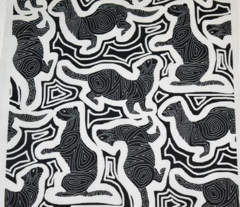 Scratchboard Ferrets in Black
