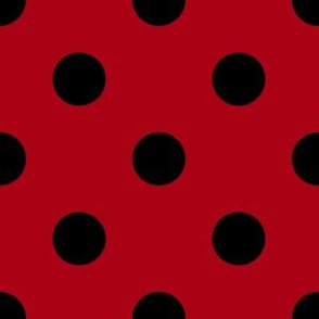 One Inch Black Polka Dots on Dark Red