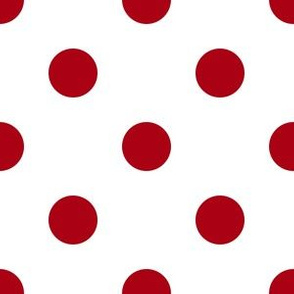 One Inch Dark Red Polka Dots on White