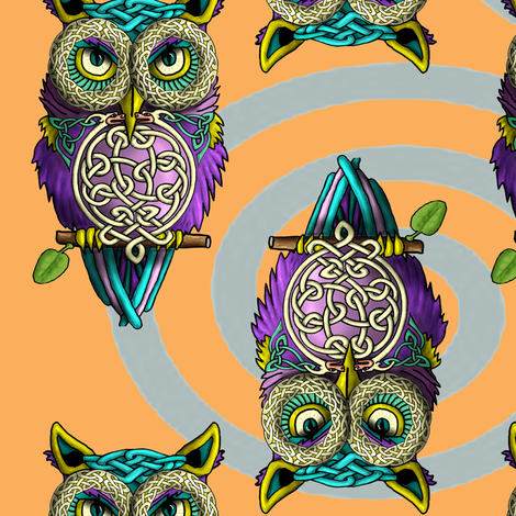 Celtic_Owls_Orange fabric by deva_kolb on Spoonflower - custom fabric