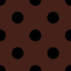 One Inch Black Polka Dots on Brown