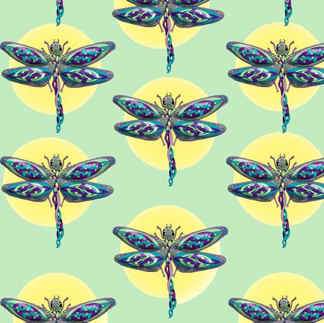 Celtic_Dragonflies_Green fabric by deva_kolb on Spoonflower - custom fabric