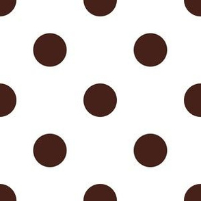 One Inch Brown Polka Dots on White