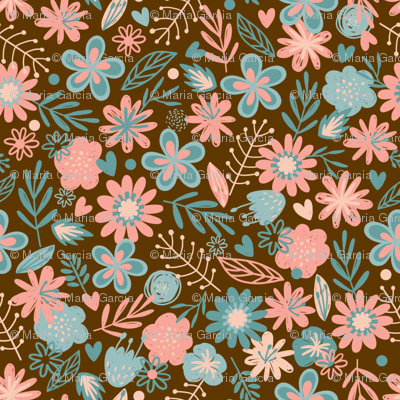 Pink & Blue Flowers on Brown Small