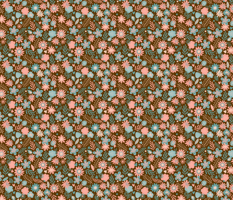 Pink & Blue Flowers on Brown Small fabric by mariafaithgarcia on Spoonflower - custom fabric