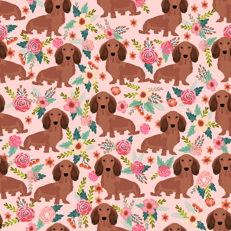 dachshunds floral fabric dogs doxie fabrics cute doxie weiner dogs fabric cute dogs florals design fabric by petfriendly on Spoonflower - custom fabric