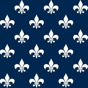 One Inch White Fleur-de-lis on Navy Blue