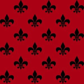 One Inch Black Fleur-de-lis on Dark Red