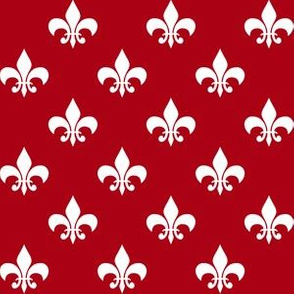 One Inch White Fleur-de-lis on Dark Red