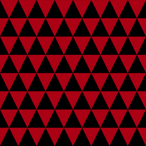 One Inch Black and Dark Red Triangles fabric by mtothefifthpower on Spoonflower - custom fabric