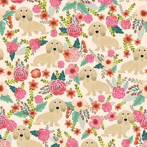 doxie florals cute cream dachshunds florals fabric cute dachshunds design