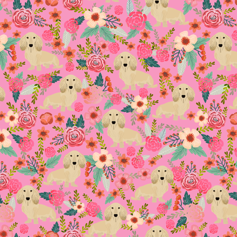floral doxie dachshunds fabric cute doxie design cute florals dogs fabric fabric by petfriendly on Spoonflower - custom fabric
