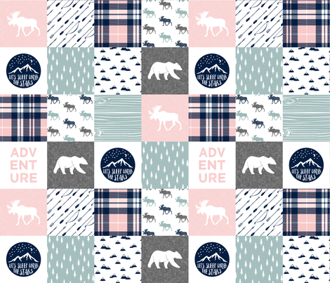 Happy Camper wholecloth w/fall plaid || (dusty blue and rose) fabric by littlearrowdesign on Spoonflower - custom fabric