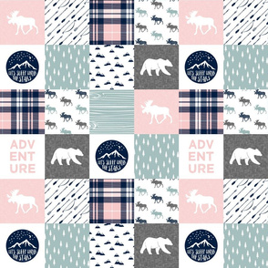 "3"" small scale - fall plaid - the happy camper (dusty blue and rose) 