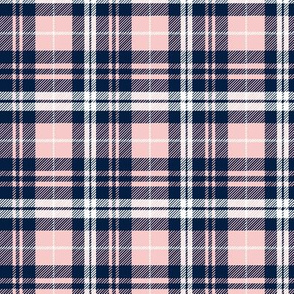 fall plaid (small scale) - navy and rose