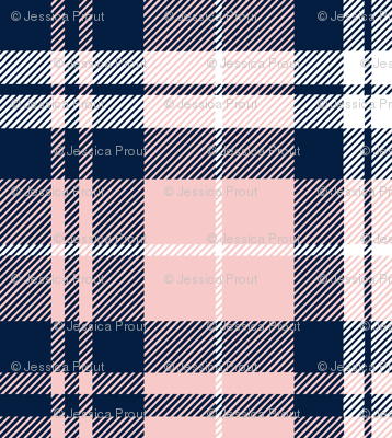 fall plaid  - navy and rose