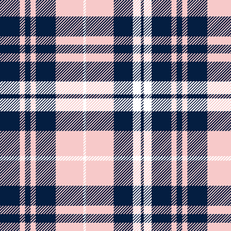 fall plaid  - navy and rose fabric by littlearrowdesign on Spoonflower - custom fabric