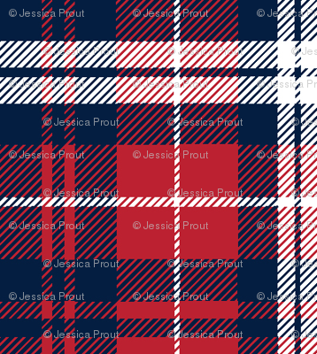 fall plaid (small scale) - navy, red, and white