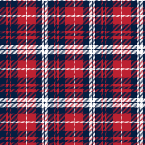fall plaid (small scale) - navy, red, and white fabric by littlearrowdesign on Spoonflower - custom fabric