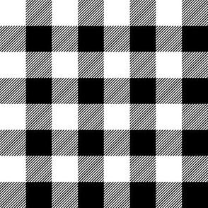 "1"" black and white plaid"