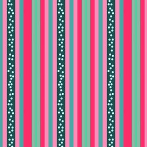 FNB3 - Mini - Fizz-n-Bubble  Stripes in Pink and Green - Vertical