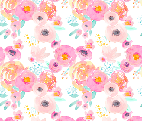 INDY BLOOM BLUSH Florals WHITE A fabric by indybloomdesign on Spoonflower - custom fabric