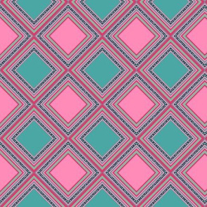 FNB3 - Mini Cheater Quilt  in Red - Pink - Green