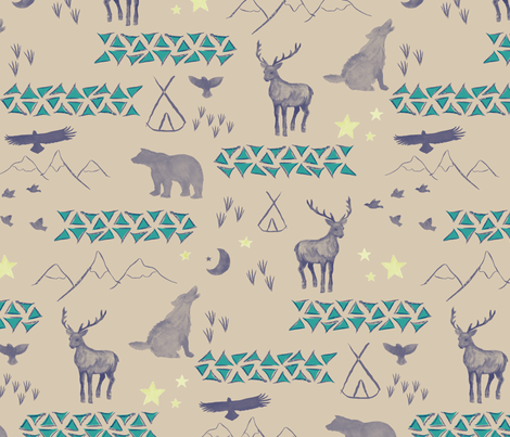 Watercolor Woodland Custom Colors fabric by mrshervi on Spoonflower - custom fabric