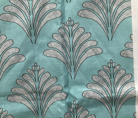 Marine Teal Silver Flow Vintage Pattern