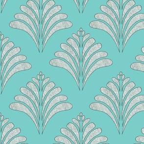 Marine Teal Silver Flow Vintage Inspired Pattern