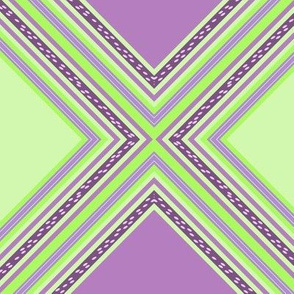 FNB2 - Diamonds on Point Cheater Quilt  in  Lime Green - Purple