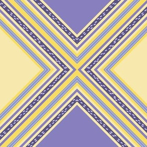 FNB1 - Diamonds on Point Cheater Quilt  in  Lemon Yellow - Violet