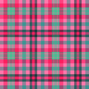 FNB3 - Soft Spoken Christmas  Plaid in Pink - Green