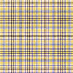 FNB1 - Pastel Lemon Yellow and Violet Tartan Plaid