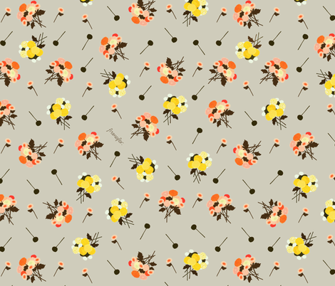 pom pom bouquet  fabric by frumafar on Spoonflower - custom fabric