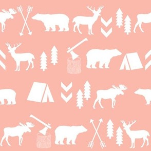 woodland animals blush cute girls woodland camping outdoors fabric nursery blush grey nursery