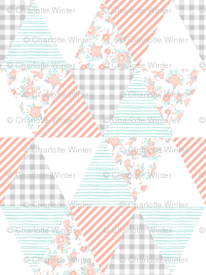 triangles cheater quilt soft pastel cute florals mint blush grey coordinate