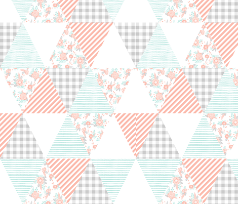 triangles cheater quilt soft pastel cute florals mint blush grey coordinate fabric by charlottewinter on Spoonflower - custom fabric