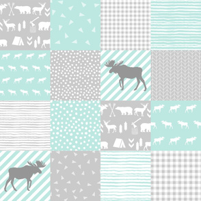 "square cheater quilt 6"" squares cute mint and grey moose quilt baby blanket crib sheet cheater quilt"