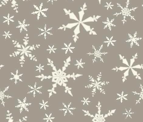 Snowflakes - Large - Ivory, Mushroom fabric by fernlesliestudio on Spoonflower - custom fabric