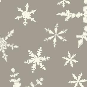 Snowflakes - Large - Ivory, Mushroom