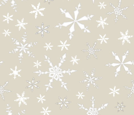 Snowflakes - Large - White, Cream fabric by fernlesliestudio on Spoonflower - custom fabric