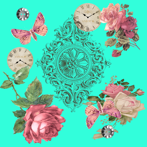 mint_and_pink_roses fabric by gigglepoo on Spoonflower - custom fabric