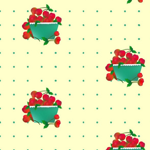 Cherries_with_Basket_on_Blue_Dots