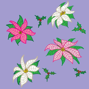 Pink and White Poinsettias, Large Print