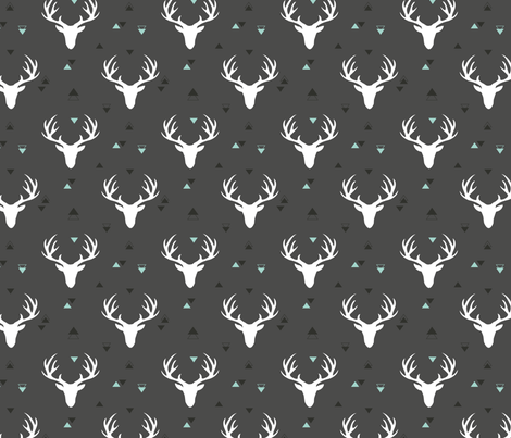 Deer head grey fabric by shirley_g_ on Spoonflower - custom fabric