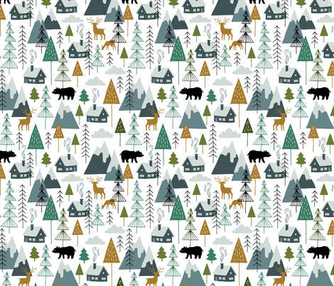 Winter Alps adventure chalet fabric by heleen_vd_thillart on Spoonflower - custom fabric