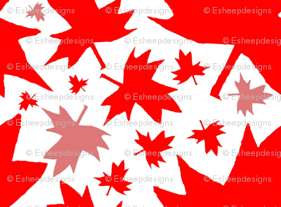 Maple Leaf (Tiled Red on White)